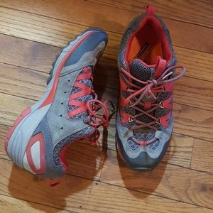 Grey and red Merrell Vibram sneakers